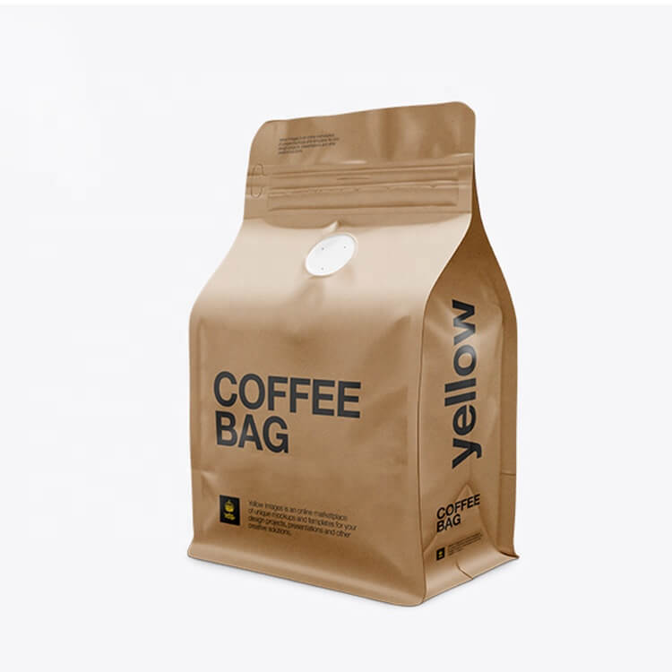 Custom Printed Biodegradable Compostable Pla Kraft Paper Flat Bottom Luxury Coffee Beans Pouch Packaging Bags With One Way Valve