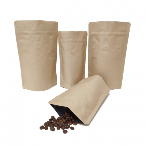 Bio bag brown kraft paper bags no printing biodegradable stand up pouch kraft paper/PLA