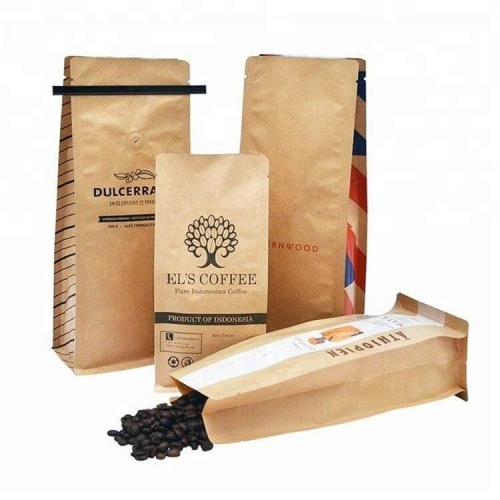 Cheap craft zipper aluminum foil kraft paper coffee bags with tin tie and valve