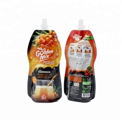 Customized biodegradable stand up special shape liquid spout pouch for fruit sauce milk jelly packaging bag