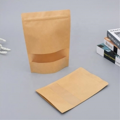 Eco-friendly resealable stand up kraft paper zipper pouch bag with clear window