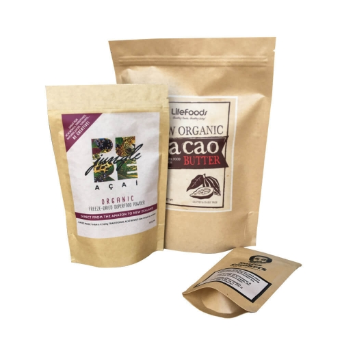 Smell proof Free samples available biodegradable feature and plastic material kraft paper stand up zipper coffee tea bags