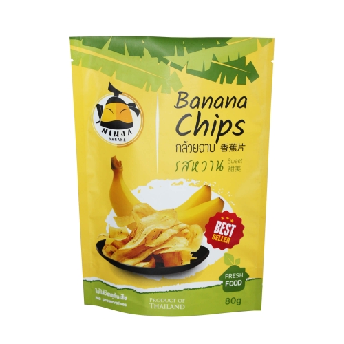 Custom design 3 side seal pouch bag for banana chips dry fruit packaging bags