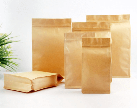 Side Gusset Foil Lined Kraft Paper Bag For Coffee Bean Tea Retail Packaging